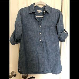 J.Crew Chambray Denim Popover Tunic Shirt sz.2